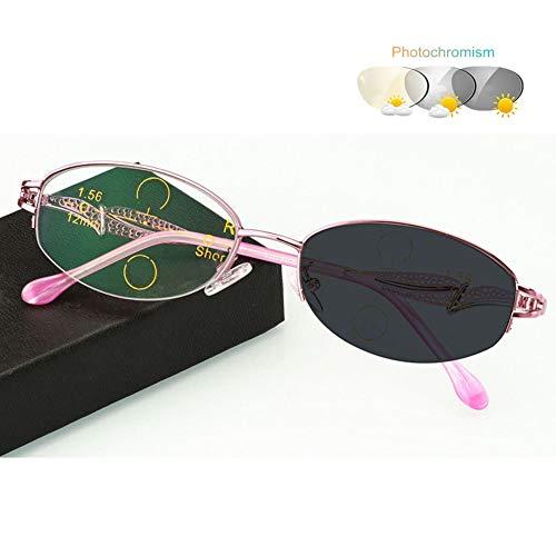 Eyetary Lesebrille Damen Progressive Multifokus 3 Stufen Vision Leser, Photochrome Sonnenbrille mit 9 stärke erhältlich, UV Schutz Optikerqualität Lesehilfe Sehhilfe,Pink,+3.0