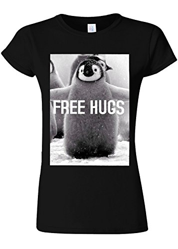 Penguin Free Hugs Funny Novelty Black Women Damen Top T-shirt Verschiedene Farben-S - Free Womens Pink T-shirt