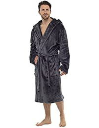Luxury Mens Hooded Dressing Gown Super Soft Fleece Gowns Bathrobe Bath Robe with Shawl Fur Detail or Hood - Gift Packed with Ribbon Perfect Mens Gift
