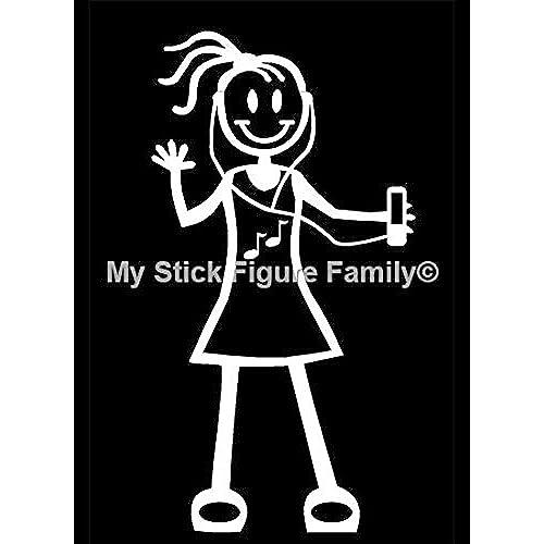 Official My Stick Figure Family Car Window Vinyl Sticker Teen Girl Ear Head  Phones & Music TG5
