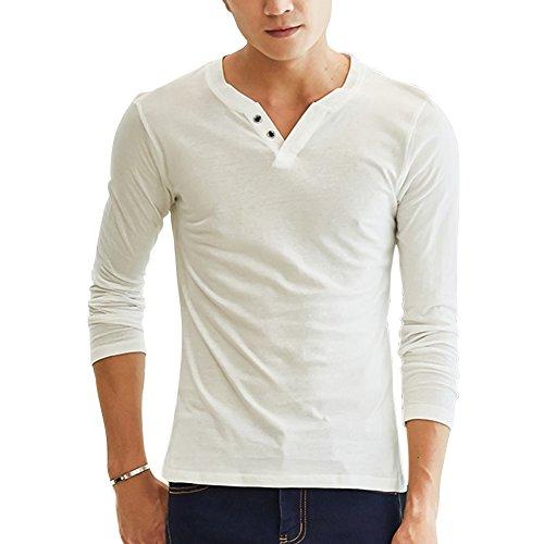 Maglie a Manica Lunga da Uomo Slim Fit Tinta Unita Henley Maglietta Camicia con Pulsante Beige