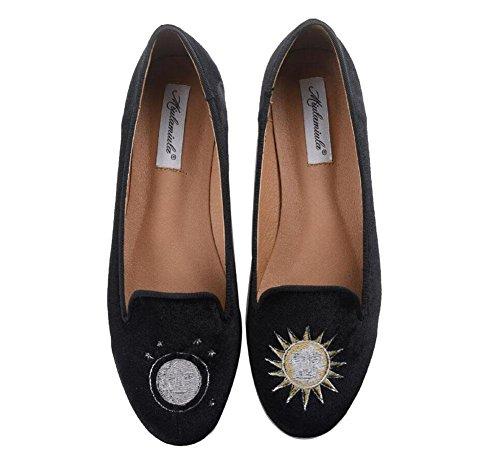 GLTER Femmes Chaussures plates Sen Femmes Bordure Soleil Et La Lune Soleil Velours Bas Talon Rase Bouche Rough Simple Chaussures Chaussures De Bateau Chaussures De Chaussures Fermeté-Toe Black