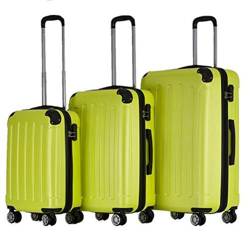 BEIBYE Zwillingsrollen Hardcase Reisekoffer Koffer Trolleys Hartschale in XL-L-M in 14 Farben (Grün, Kofferset)