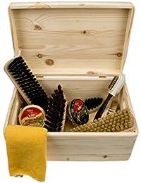 zapato cuidado Pinewood Caja -Verona- con kiwi betún, cepillos y más cuidado accesorios, profesional zapato brillante kit - FSC 100%
