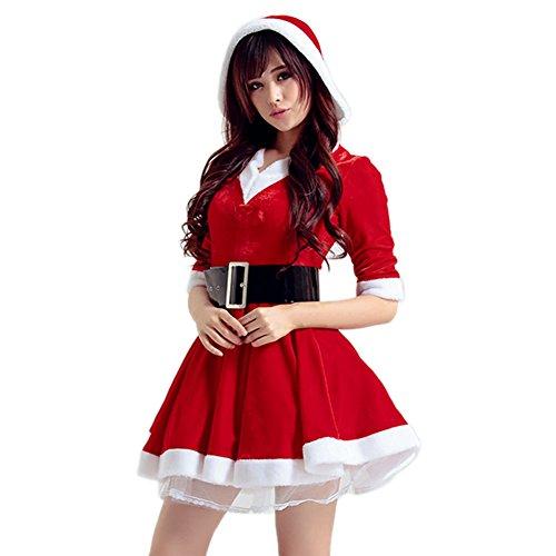 Petalum Weihnachten Kostüm Damen Samt Minikleid Weihnachten Halb Ärmel Herz Ausschnitt Kapuzen Gürtel A-Linen Weihnachtsfrau Kleid (Kostüme Für Miss Erwachsene Samt Santa)