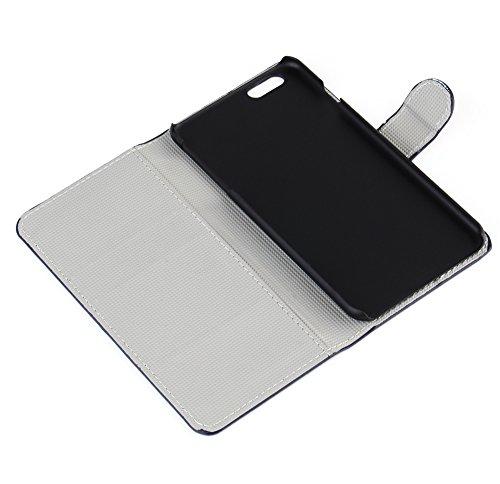 """Kit Me Out DE PU-Kunstleder Bedrucktes Flip Case für Apple iPhone 6 Plus / 6S Plus 5.5"""" Zoll - Mehrfarbig / Schwarz Retro 60's Schwarz, Rosa Blumen und Schmetterlinge"""