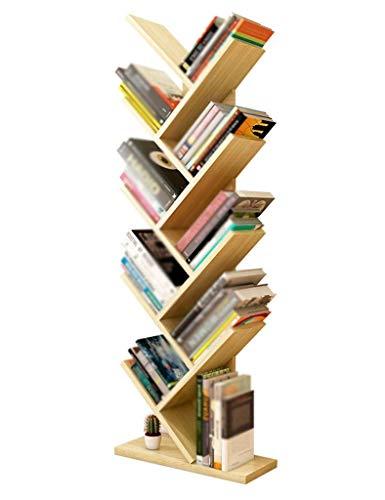 MJY Speicher-Regale modernes einfaches hölzernes Baum-Regal-Innenwohnzimmer-Boden-stehende Bücherregale Mehrschichtspeicher-Vollenden-Regale,Weißer Ahorn -