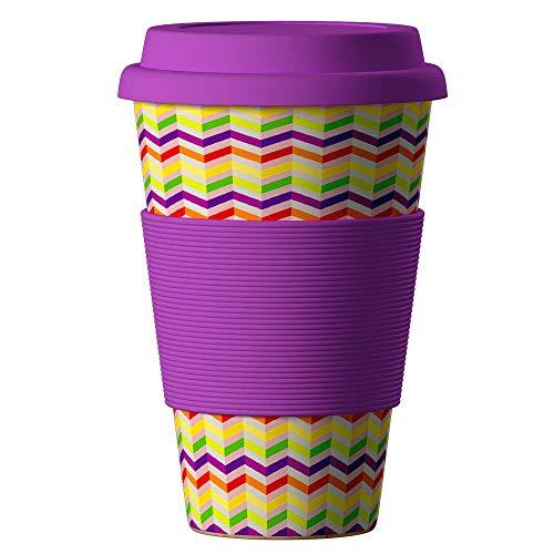 Bambus Becher wiederverwendbare Kaffeetasse mit dichtem Deckel, Trinkloch und Silikonhülle - Bamboo Eco ECoffee Cup - lebensmittelecht und spülmaschinenfest 400 ml Zick-Zack