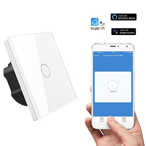 Licht-timer Wandschalter (BIUBIUboom Smart WiFi Lichtschalter, Touch Wandschalter Panel, Smart Licht Timer Schalter 110-240 V, Keine Hub Erforderlich, Kompatibel mit Amazon Alexa Echo (Weiß 1-Gang))