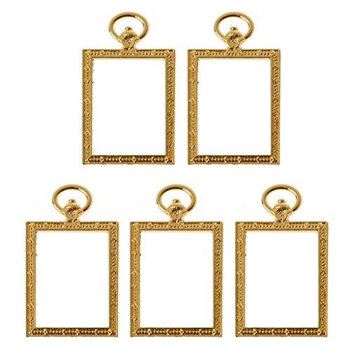Qianqian56 Taschenuhrenanhänger mit Kunstharz, quadratisch, 5 Stück -