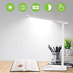 Idea Regalo - Lampada Scrivania 42 LED, Lampada da Tavolo con Efficienza Energetica Occhi-Cura, Regolabile 3 Luminosità×3 Modalità, Sensibile Tocco-Controllo, Lampada Scrivania per Ufficio,Lettura,Studio,Lavoro