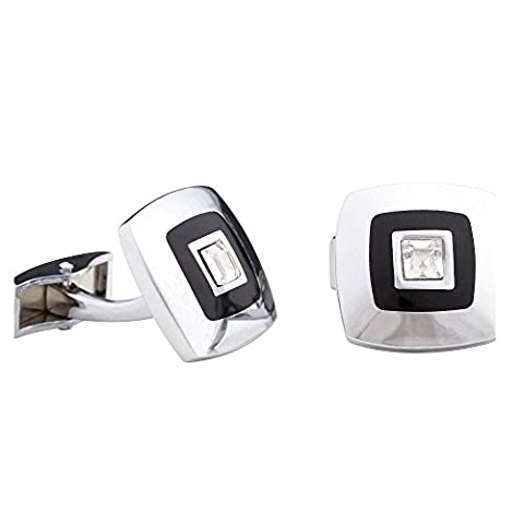 CUF133-Men's square metal cufflinks with white diamante gift box set