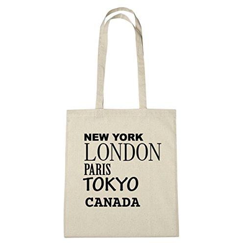 JOllify Canada borsa di cotone b4730 schwarz: New York, London, Paris, Tokyo natur: New York, London, Paris, Tokyo