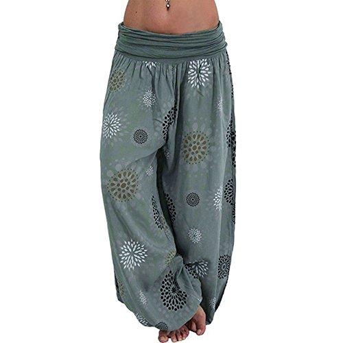 laamei Femmes Bloomers Harem Pantalon Sarouel Pantalon Yoga Imprimer Pantalon Aladdin Imprimé Bohèm
