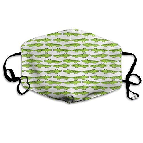 Daawqee Staubschutzmasken, Lime Green Mini Alligator Allergy & Flu Mask - Comfortable, Washable Protection from Dust, Pollen, Allergens, Cold & Flu Germs with Antimicrobial; Asthma Mask