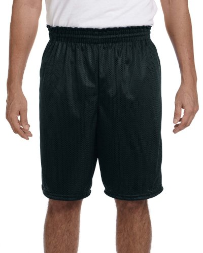 Augusta Sportswear Men's Tricot Lined Elastic Long Mesh Short, BLACK, X-Large - Augusta Sportswear Mesh Shorts