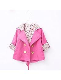 Koly Niño bebé niñas Floral impresión prendas cortaviento chaquetas ropa de capa (L, Rosa caliente)