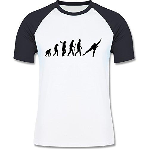 Evolution - Eisschnelllauf Evolution - zweifarbiges Baseballshirt für Männer Weiß/Navy Blau