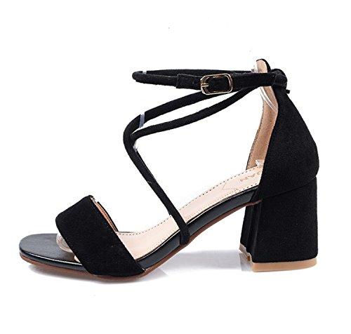 DANDANJIE Womens Shoes Bride à la Cheville Bloc Sandales à Talons Strappy Block Bas Talon Dames Soirée Chaussures (Abricot Noir Rouge 35-41)