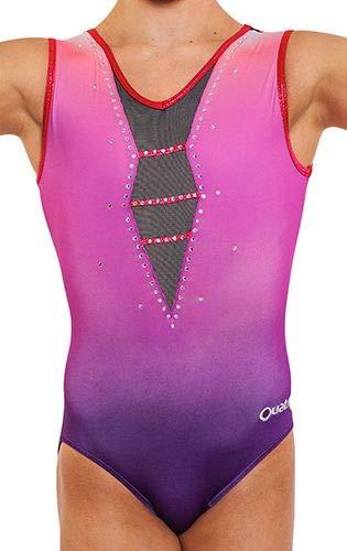 Quatro Gymnastikanzug für Mädchen, mit kurzen Ärmeln, für Tanz, Training, Empress SS, Rosa, Rose, 11-12 Jahre