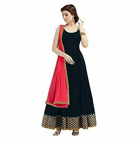 Rj Trandz Black Georgette Embroidery Anarkali Dress With Duptta