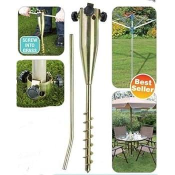 Garden Pro, puntello per giardino realizzato in metallo placcato in zinco, utilizzabile come base per stendibiancheria, ombrellone, mangiatoia per uccelli, asta per bandiere