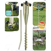 Garden Pro - Pincho de Metal para Suelo de Zinc para jardín, aerógrafo rotatorio, Parasol, comederos de pájaros, Banderas
