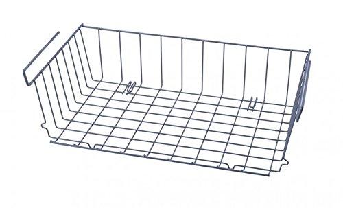 Quantio Schrankkorb Zum Einhängen - 46 x 25 - Metall - Grau - Regalkorb - Aufbewahrungskorb - Gewürzregal - Küchenregal - Schrank - Regal - Einhängekorb