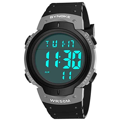 TONKOW Elektronische Outdoor-Sportarten Multifunktions-Trend-Bildschirm Mode Herrenuhr (grau) -