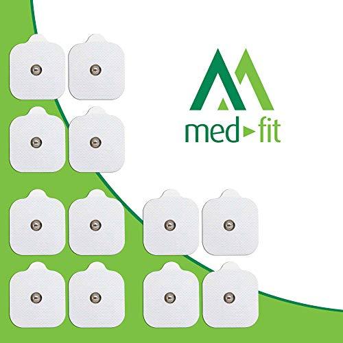 MED-FIT 5x5cm Flexi iSTIM 12 x 3.5mm Stud tipo snap/boton TENS Almohadillas autoadhesivas encajan...