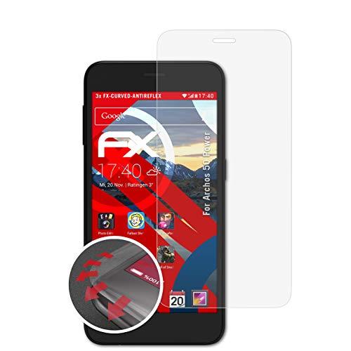 atFolix Schutzfolie passend für Archos 50 Power Folie, entspiegelnde & Flexible FX Bildschirmschutzfolie (3X)
