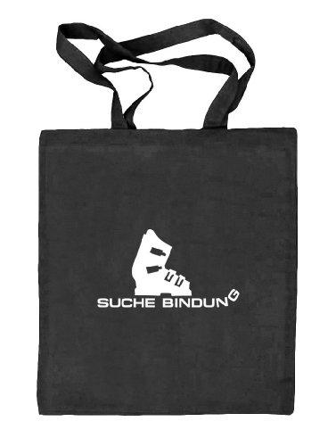 Shirtstreet24, Après Ski - Suche Bindung, Wintersport Natur Stoffbeutel Jute Tasche (ONE SIZE), Größe: onesize,schwarz natur -