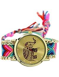 Reloj de pulsera - SODIAL(R)Reloj de pulsera tejida de patron de elefante para mujeres de color No.3