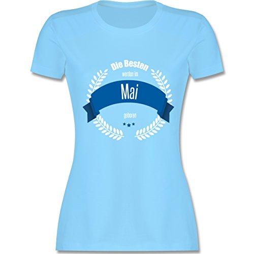 Geburtstag - Die Besten werden im Mai geboren - tailliertes Premium T-Shirt mit Rundhalsausschnitt für Damen Hellblau