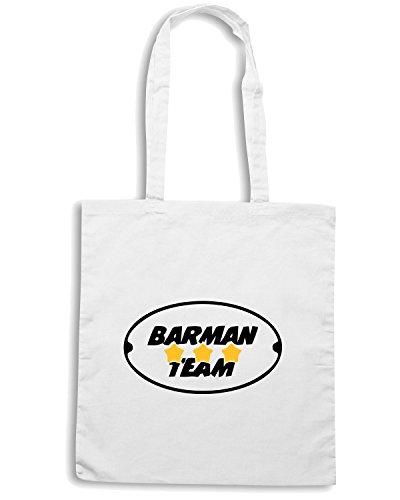 T-Shirtshock - Borsa Shopping BEER0163 Barman-Team-Magliette Bianco