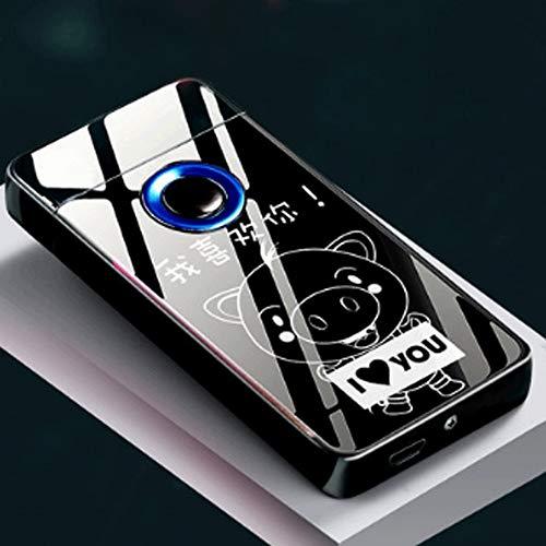 Zenghh Encendedor USB Detección de huellas dactilares Encendedor de cigarrillos de doble arco Carga de inducción inteligente A prueba de viento Electrónica Personalidad creativa Lechón for enviar Novi