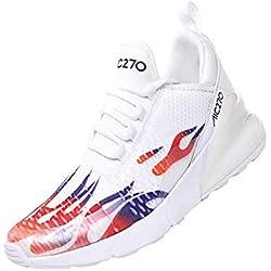 SINOES Femme Homme Coussin d' Knit Trail Chaussures De Course 2019 Léger Chaussures De Marche Athletic Sport en Plein Jogging Gym Entraîneur Chaussures Blanc 39 EU