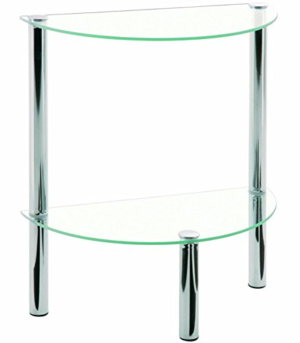 PEGANE Table d'appoint en tube d'acier Verre trempé chromé, Dim : L45 x P22 x H47 cm