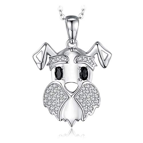 JewelryPalace Schnauzer Terrier Hund Welpen Haustier Liebhaber Echte schwarze Spinell Anhänger Halskette 925 Sterling Silber 45CM Box Kette -