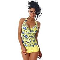 PF-Fashion Donna Push-Up Tankini Halter Hotpants Bikini Bottom costume da bagno a due pezzi stabiliti Paisley
