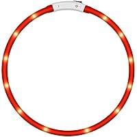 KEKU LED Collar de Perro de Mascota, llevó USB Recargable Collar de Seguridad para Mascotas Impermeable hasta la Longitud de 50 cm (19.5in) Collar de Destello Ajustable (Rojo)