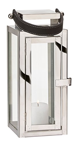 Villa Collection Laterne mit Griff (Tragelasche) Edelstahl Glas mit Tür Windlicht Gartenlaterne Kerzenhalter (S, Silber) - Griff-collection