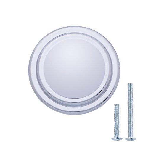 AmazonBasics - Schubladenknopf, Möbelgriff, mit gerader Platte oben und Umrandung, Durchmesser: 3,17 cm, Poliertes Chrom, 10er-Pack Chrom-platte