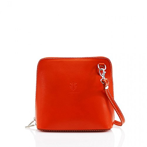 Borsa A Tracolla In Pelle Italiana Leawward® Fashion Fooder Piccola Dimensione Cwv0026 Arancione