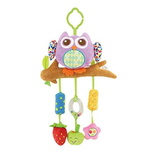 YeahiBaby Kinderwagenspielzeug Lila Eule Form Mobile Kette Krippe Bett Auto Sitz Hänge Spielzeug für Baby (Mobile Für Baby Kinderbett Eule)