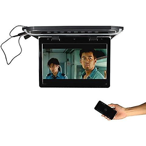Motor del coche de 12.1 pulgadas montado en el techo LED táctil digital botón Monitor 1280 * (RGB) * 800, tapa de monitor con HDMI SD FM (beige)