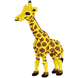 Modelo Animal de la Jirafa Amarilla DIY Micro Diamante Mini Edificio Nano Bloques de Ladrillos asamblea 3D niños Juguetes,A