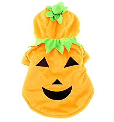 SMALLLEE_LUCKY_STORE Pet Small Dog Cat Clothes Fleece Pumpkin Costume Halloween Dress Up Orange by pupproperty dog clothing