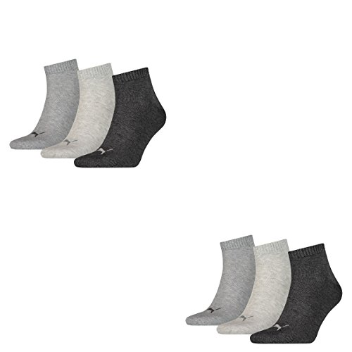 6 Paar Puma Sneaker Quarter Socken Unisex Invisible / schwarz, blau, grau / Art. 251015 (Anthracite/Grey, 47-49)