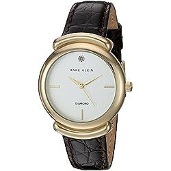 Anne Klein Women's AK/2358SVBN Diamond-Accented Gold-Tone and Brown Croco-Grain Leather Strap Watch